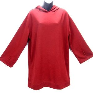Zara Hooded Tunic Dress Red Hoodie Shift Dress M